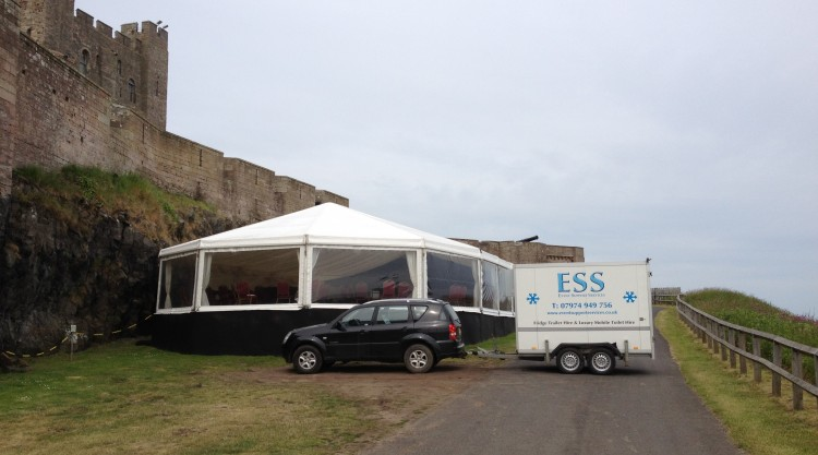 Delivering fridge trailer to Bamburgh Castle...